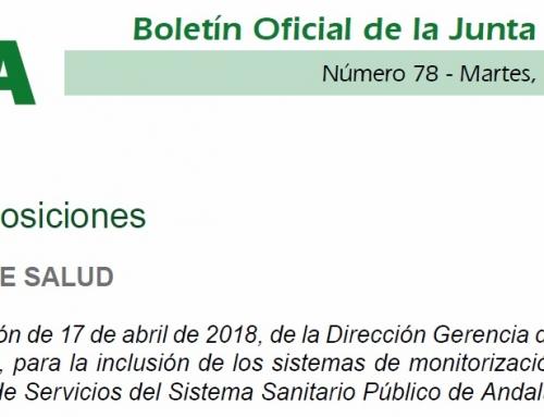 PUBLICADA LA RESOLUCIÓN DE 17 DE ABRIL DE 2018, DE LA DIRECCIÓN GERENCIA DEL SERVICIO ANDALUZ DE SALUD, PARA LA INCLUSIÓN DE LOS SISTEMAS DE MONITORIZACIÓN DE LA GLUCOSA EN CARTERA DE SERVICIOS DEL SISTEMA SANITARIO PÚBLICO DE ANDALUCÍA.