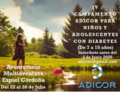 ABIERTO EL PLAZO DE PREINSCRIPCIÓN PARA EL IV CAMPAMENTO DE VERANO ADICOR PARA NIÑOS Y ADOLESCENTES CON DIABETES.